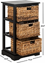 Three Tiered Basket Storage Shelf, Distressed Black