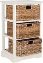 Three Tiered Basket Storage Shelf, Distressed White