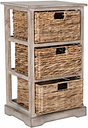 Three Tiered Basket Storage Shelf, Vintage White