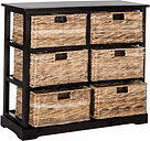 Six Tiered Basket Storage Chest, Distressed Black