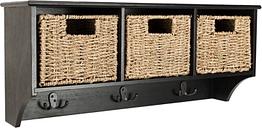 Three Basket Storage Shelf, Black