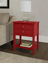 Nia Cottage Hill Accent Table with 2 Drawers, Red