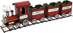 Decorative Holiday Train on Tracks, Red/White/Black