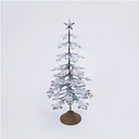 """Decorative 33"""" Metal Tabletop Evergreen Tree with Star Topper Accent, Green/White"""