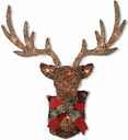 "Decorative 32"" Electric Vine Stag Head Wall Décor, Red/Brown"