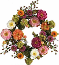 """Home Accents 24"""" Mixed Peony Wreath, Multi"""