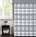 Pem America Truly Soft Curtis Stripe Shower Curtain, White/Gray