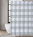Pem America London Fog Kent Plaid Shower Curtain, White/Blue