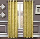 """Basra 84"""" Jacquard Tile Panel Curtain, Citron"""