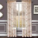 "Erika 84"" Sheer Jacquard Panel Curtain, Taupe"