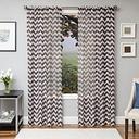 "Lyra 84"" Sheer Chevron Panel Curtain, Chocolate"