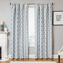 """Peyton 84"""" Jacquard Tile Panel Curtain, Ocean"""