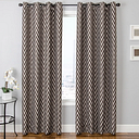 "Vaughn 84"" Jacquard Chevron Panel Curtain, Chocolate"