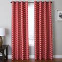 "Vaughn 84"" Jacquard Chevron Panel Curtain, Red"