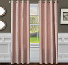 "Vaughn 84"" Jacquard Panel Curtain, Pink Blossom"