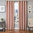 """Davos 96"""" Jacquard Tile Panel Curtain, Orange"""