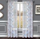 "Erika 84"" Sheer Jacquard Panel Curtain, Blue Steel"