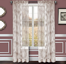 "Erika 96"" Sheer Jacquard Panel Curtain, Gray"