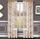 "Erika 84"" Sheer Jacquard Panel Curtain, Taupe"