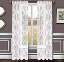 "Erika 96"" Sheer Jacquard Panel Curtain, White"