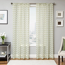 "Lyra 96"" Sheer Chevron Panel Curtain, Lime"