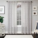 "Lyra 96"" Sheer Chevron Panel Curtain, Platinum"