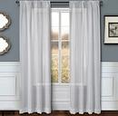 """Eleganz 84"""" Metallic Sheer Panel Curtain, White"""