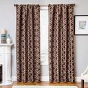 """Peyton 96"""" Jacquard Tile Panel Curtain, Designer Brown"""