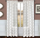 "Presidio 96"" Sheer Panel Curtain, Taupe White"