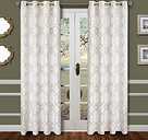 """Harleigh 96"""" Embroidered Panel Curtain, Champagne"""