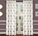 """Tropic 96"""" Palm Panel Curtain, Gold Pewter"""