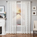 "Celestia 96"" Sheer Panel Curtain, White"