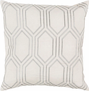 "Skyline Ivory Geometric 18"" Throw Pillow, Beige/Medium Gray"