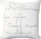 """Montpellier French Script Print 18"""" Throw Pillow, Charcoal/Cream"""