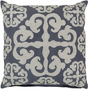 "Madrid Embroidered 18"" Throw Pillow, Navy/Cream"