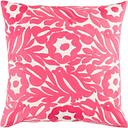 "Pallavi Floral Print 22"" Throw Pillow, Bright Pink/Cream"