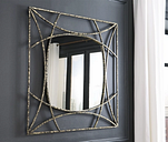 Keita Accent Mirror, Black/Gold Finish