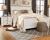 Willowton Queen Bed with 2 Nightstands, Whitewash