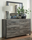 Cazenfeld Dresser and Mirror, Black/Gray