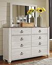 Willowton Dresser and Mirror, Whitewash