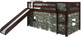 Kids Twin Low Loft Tent Bed with Slide, Camo