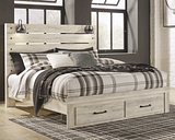 Cambeck King Panel Bed with 2 Storage Drawers, Whitewash