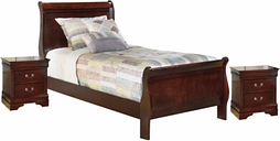 Alisdair Twin Sleigh Bed with 2 Nightstands, Dark Brown