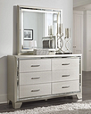 Lonnix Dresser and Mirror, Silver Finish