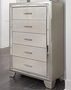 Lonnix Chest of Drawers, Silver Finish
