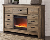 Trinell Dresser with Electric Fireplace, Brown