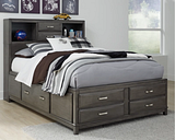 Caitbrook Full Storage Bed with 7 Drawers, Gray