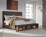 Ralene King Upholstered Panel Bed, Dark Brown