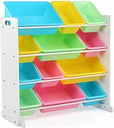 Kids Pastel Toy Storage Organizer with Twelve Plastic Bins, White