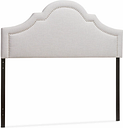 Rita Upholstered Queen Headboard, Gray/Beige